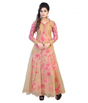Beige-Net-Anarkali-Gown-Semi-Stitched-Suit