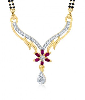 Cubic-Zirconia-and-Ruby-Stone-Studded-Mangalsutra-Pendant