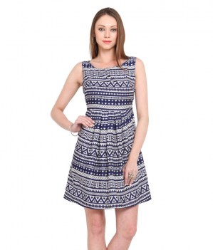 Dede-Blue-Poly-Crepe-A-Line-Dress